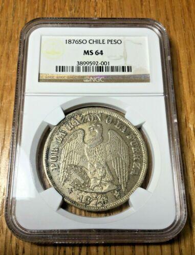 1876 SO Chile Peso MS 64 Santiago silver crown 8 reales SECOND HIGHEST GRADE