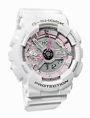Casio G Shock Pink Grey White Resin Analog Digital Womens Watch GMAS110MP-7A
