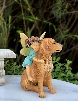 Miniature Dollhouse FAIRY GARDEN ~ Ready for a Ride Girl with Dog ~ NEW