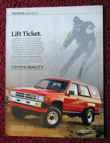 1989 Print Ad Toyota 4RUNNER SR5 V6 SUV Truck ~ Lift Ticket Snow Slopes Skier