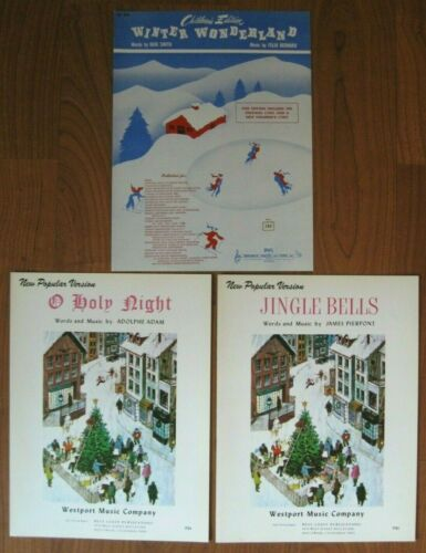 CHRISTMAS Lot Of 3 Vintage SHEET MUSIC Jingle Bells Winter Wonderland