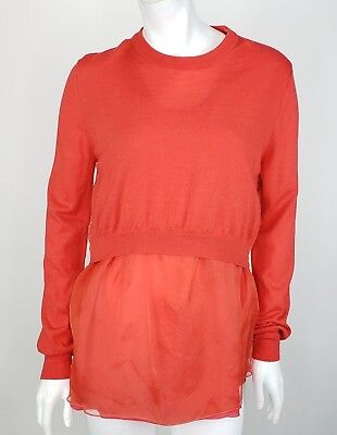 Acne Sweater Medium Red Orange Coral Cashmere Wool Silk Layered Belle Patch AW10
