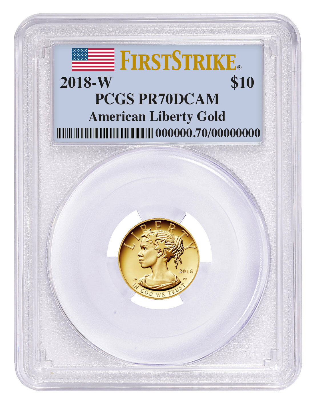 2018-W American Liberty $10 Gold Commemorative PCGS PR70 DCAM FS Flag SKU52153