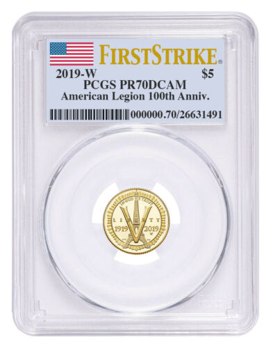 2019 W American Legion 100th $5 Gold Commem PCGS PR70 DCAM FS SKU57438
