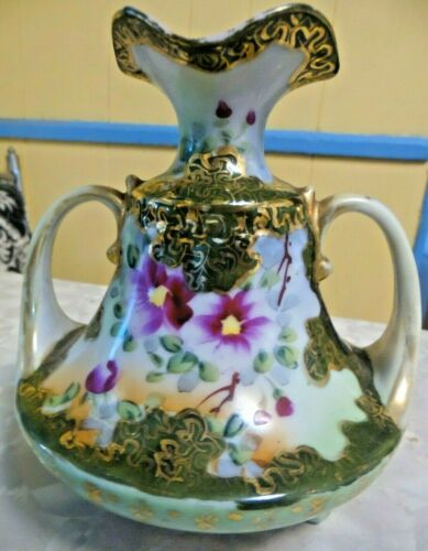 Vintage Hand Painted Purple Floral Vase 3 Footed With Handles & Gold Inlay
