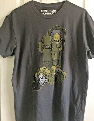 Mens Fuzzy Ink Lego Head Figure Grey T Shirt  TShirt Size Large