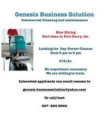 Looking for Day Cleaner in Port Perry, On