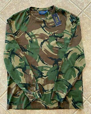 Polo Ralph Lauren Jersey Knit Long Sleeve T Shirt XXL Camo w/ Pocket & Pony NWT