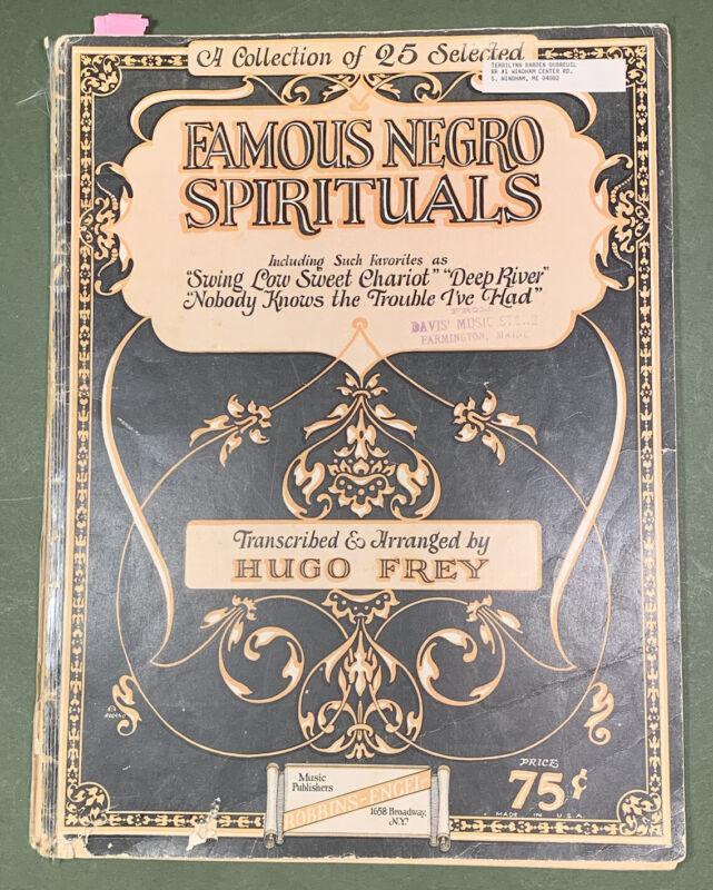 Famous Spirituals Song Book 1924 Hugo Frey Black Americans Sheet Music Americana