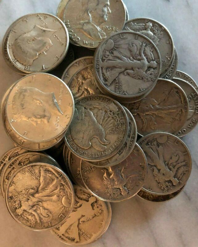 Lot of 3 90% Silver Half Dollars - 1 Each: WALKING LIBERTY, FRANKLIN, KENNEDY