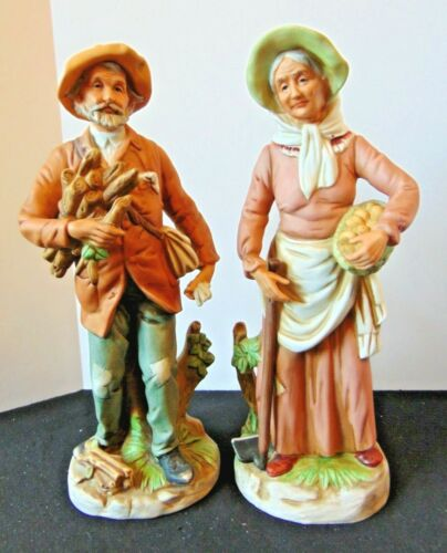 "Vintage HOMCO Farm Couple w/Wood & Potatoes 10"" Porcelain Figurines #8884"