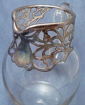 Heavy Sterling Art Nouveau Cased Crystal Pitcher Antique Silver Deposit