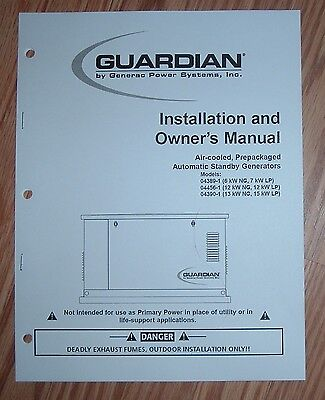 GENERAC GUARDIAN STANDBY GENERATOR 04389-1 04456-1 04390-1  OWNERS MANUAL (Guardian Generator Manual)