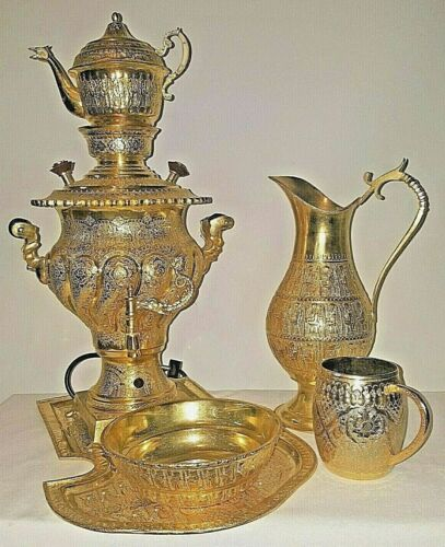 RARE VINTAGE  OLD PERSIAN ARMENIAN GOLD  SAMOVAR SET not tested