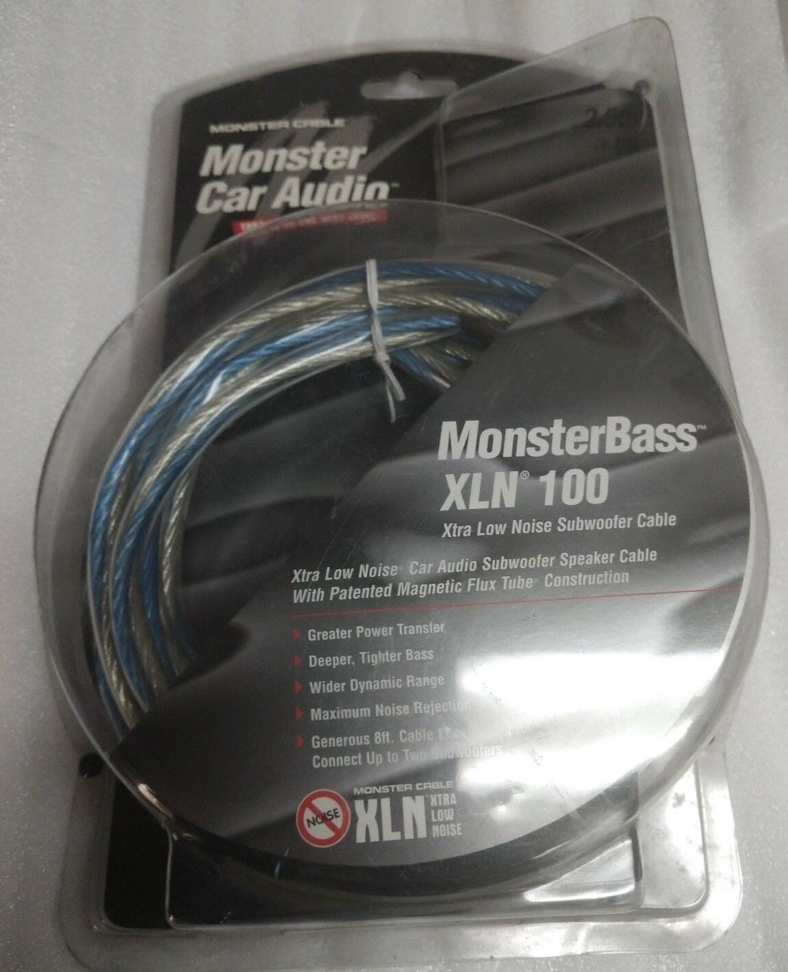 [2] Monster Car Audio MonsterBass XLN 100 8 ft Xtra Low Noise Subwoofer Cable