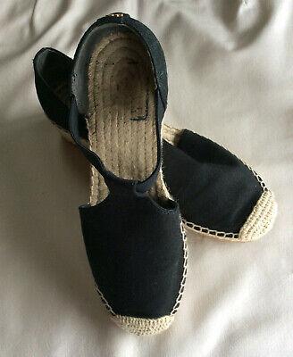 Tory Burch Black Logo Espadrille Low Heel Shoes  71/2  M  New Excellent