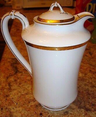 HAVILAND LIMOGES LARGE CHOCOLATE / COFFEE / TEA POT, WHITE & GOLD