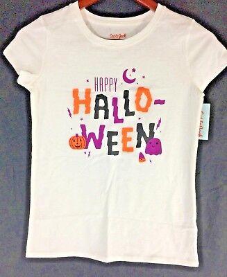 "Jack White Halloween (CAT & JACK - Girls' Short Sleeve White T-Shirt ""Happy Halloween"")"