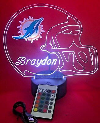 Miami Dolphins NFL Football Light Up Lamp LED Light and Remote Personalized Free](Light Up Footballs)