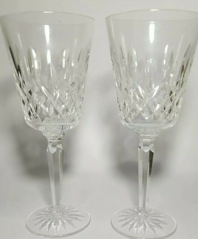 Waterford Crystal Champagne Flutes (2) Acid Mark Hand Cut