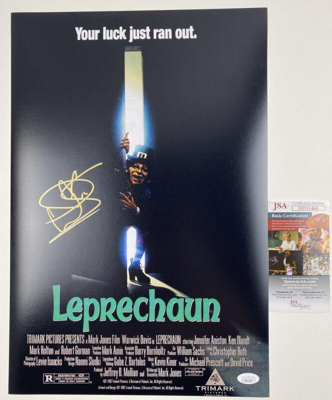 WARWICK DAVIS signed 12x18 Poster LEPRECHAUN Horror Movie JSA Authentication