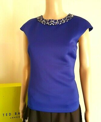 TED BAKER LONDON BLUE  JEWEL BEADED EMBELLISHED PARTY TOP BNWT UK 10 TED 2 US 6
