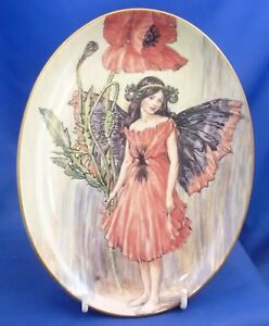 ROYAL WORCESTER FLOWER FAIRIES OVAL COLLECTOR PLATE - POPPY FAIRY (BOXED)