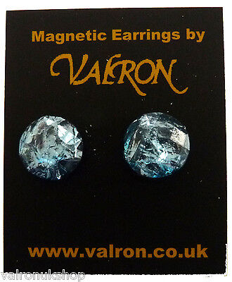 ICE BLUE DOME EARRING EITHER CLIP ON MAGNETIC OR STUD (13mm) Ice Dome