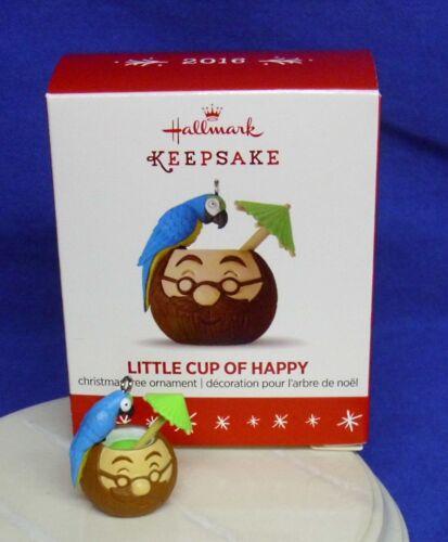 Hallmark Miniature Ornament Little Cup of Happy 2016 Parrot Cocktail Coconut Mug