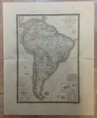 SOUTH AMERICA ENGRAVED & EDITED by BRUE 1826 19e CENTURY LARGE ANTIQUE MAP