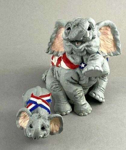 Vintage 1995 Kathy Wise Elephant Pair Flag Patriotic set of 2 Enesco