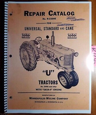 Minneapolis-moline U Utu Uts Utc Utn Tractor 334001- Repair Parts Manual R-1056e