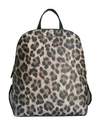 Michael Kors Natural Leopard Cindy Large Saffiano Leather Backpack Bag Handbag