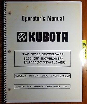 Kubota B2551 51 Bl2563 63 2 Two Stage Snowblower 100- Operators Manual 1184