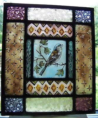 Victorian style stained glass door panel with chaffinch.