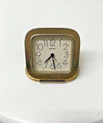 Vintage Seiko Quartz Gold-Tone Travel Alarm Clock