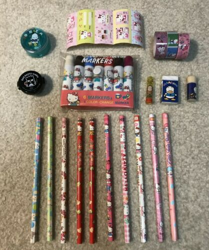 Mixed Lot of 20 Vintage Sanrio Erasers Pencil Topper Kitty Pochacco Badtz-Maru
