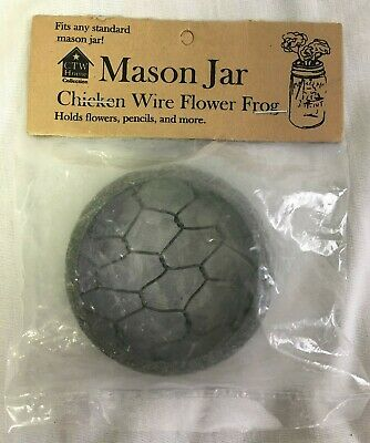 Rustic  Flower Frog Mason Jar Lid Barn Roof Gray with Chicken Wire Standard Size](Mason Jar With Flowers)