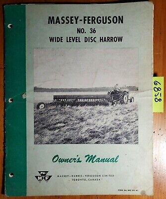 Massey Ferguson 36 Wide Level Disc Harrow Owner Operator Manual 690 253 M1 1057