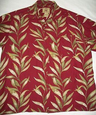 Joe Marlin Hawaiian Shirt Seaweed Leaves Yellow Red Olive Green 2X (Hawaiian Seaweed)