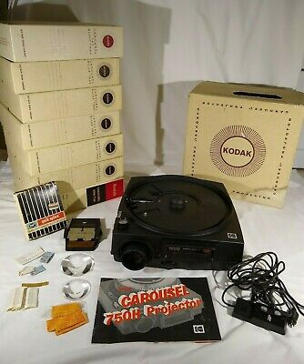 KODAK CAROUSEL 750H SLIDE PROJECTOR w/Box Manual Remote - slide trays w/ slides  Kodak Carousel Slide Trays
