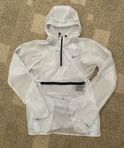 Nike Repel Mens Hooded Running Jacket Barely Gray Sheer Size Large CU5536-043
