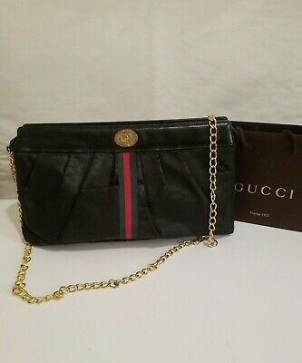 RARE! Gucci Vintage Large Leather Canvas Clutch Crossbody Bag + Chain Strap