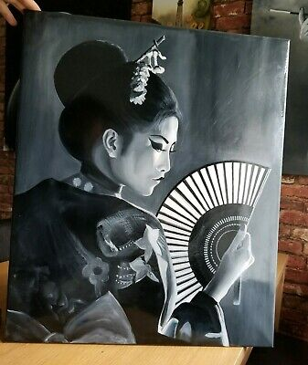 Resin Art Acrylic Painting of Japanese Geisha covered with resin