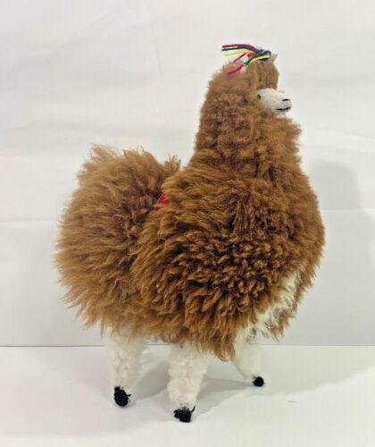 "Peru 14"" Llama Real Fur Brown Head Plush Stuffed Animal Toy Peruvian"