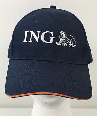 ING Lion Embroidered Logo Navy Blue Adjustable Baseball Hat Legend Strapback Cap