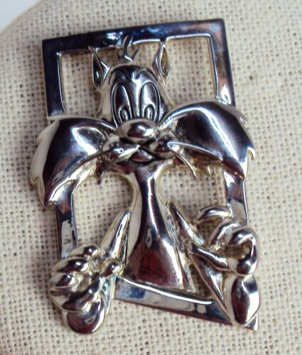 Sylvester Cat 1993 Warner Brothers Pin Brooch Looney Tunes Silver Tone Window