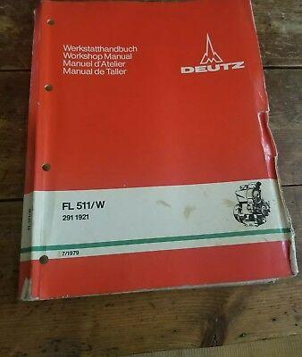 Deutz Fl 511w Air-cooled Diesel Workshop Shop Manual 291 1921 71979