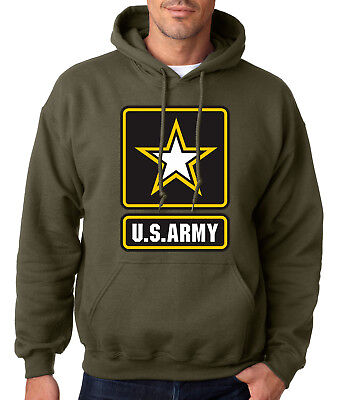 Army Logo Hooded Sweatshirt - ARMY LOGO MILITARY GREEN HOODIE United States Hooded Sweatshirt Usarmy Ranger US