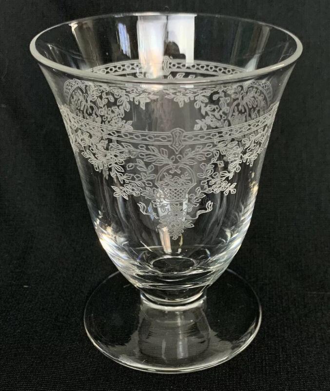 Vintage Etched fostoria Crystal Clear glass goblet